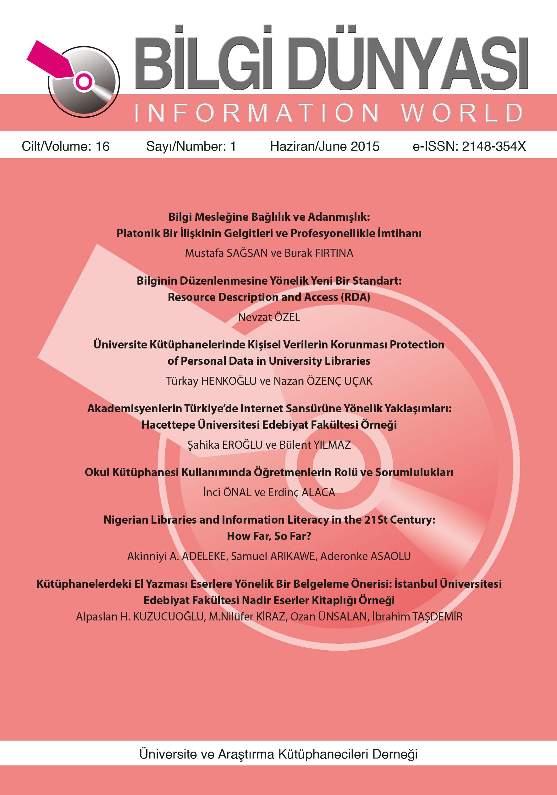 Cilt 16 Sayı 1 (2015)